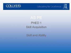 AS PE PHED 1 Skill Acquisition Skill and