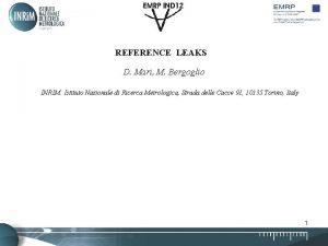 REFERENCE LEAKS D Mari M Bergoglio INRIM Istituto