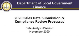 Department of Local Government Finance 2020 Sales Data
