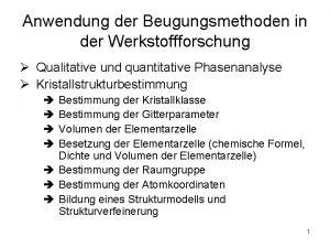Anwendung der Beugungsmethoden in der Werkstoffforschung Qualitative und