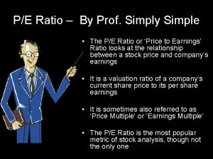 PE Ratio By Prof Simply Simple The PE