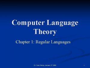 Computer Language Theory Chapter 1 Regular Languages Dr