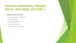Wellness and Healthy Lifestyle SOCIAL WELLNESS LECTURE 2