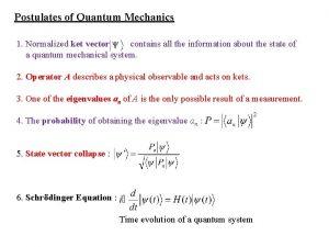Postulates of Quantum Mechanics 1 Normalized ket vector
