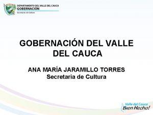 GOBERNACIN DEL VALLE DEL CAUCA ANA MARA JARAMILLO