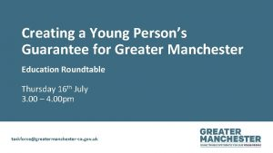 Creating a Young Persons Guarantee for Greater Manchester