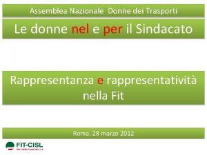 Assemblea Nazionale Donne dei Trasporti Le donne nel