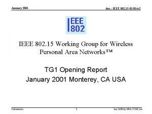 January 2001 doc IEEE 802 15 01014 r