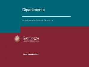 Dipartimento Organigramma Salute Sicurezza RIUNIONE PERIODICA DI SICUREZZA