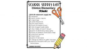 Clinton Elementary PreK School q10 00 classroom supply