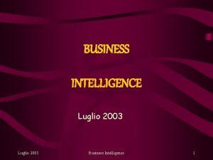 BUSINESS INTELLIGENCE Luglio 2003 Business Intelligence 1 Cos
