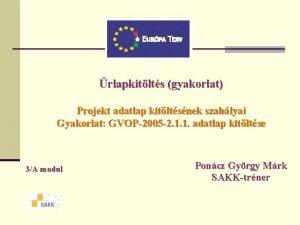 rlapkitlts gyakorlat Projekt adatlap kitltsnek szablyai Gyakorlat GVOP2005