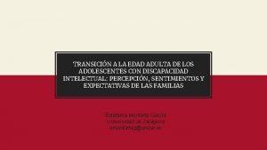 TRANSICIN A LA EDAD ADULTA DE LOS ADOLESCENTES