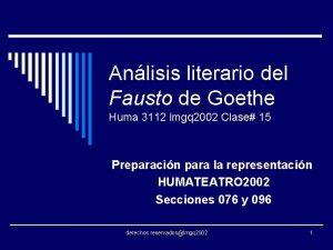 Anlisis literario del Fausto de Goethe Huma 3112