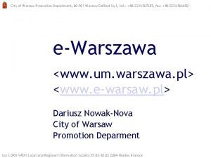 City of Warsaw Promotion Department 00 901 Warsaw