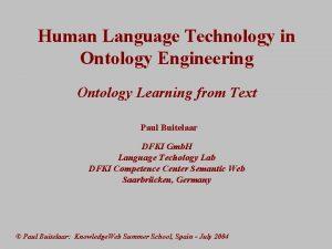 Human Language Technology in Ontology Engineering Ontology Learning