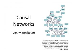 Causal Networks Denny Borsboom This is a causal