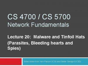 CS 4700 CS 5700 Network Fundamentals Lecture 20