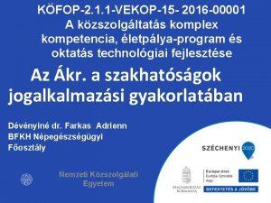KFOP2 1 1 VEKOP15 2016 00001 A kzszolgltats