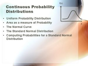 Continuous Probability Distributions fx Uniform Probability Distribution Area