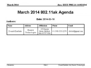 March 2014 doc IEEE P 802 11 140215