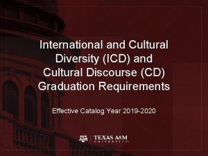 International and Cultural Diversity ICD and Cultural Discourse