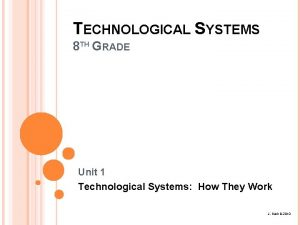 TECHNOLOGICAL SYSTEMS 8 TH GRADE Unit 1 Technological