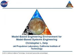 ModelBased Engineering Environment for ModelBased Systems Engineering Christopher