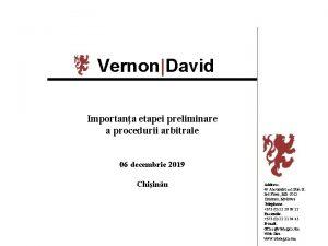 VernonDavid Importana etapei preliminare a procedurii arbitrale 06