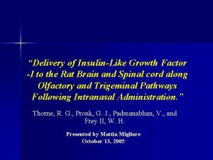 Delivery of InsulinLike Growth Factor I to the