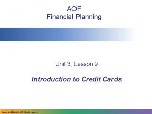 AOF Financial Planning Unit 3 Lesson 9 Introduction