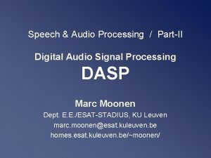 Speech Audio Processing PartII Digital Audio Signal Processing