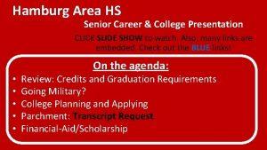 Hamburg Area HS Senior Career College Presentation CLICK