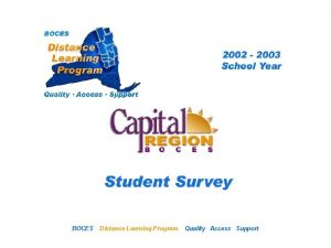 CRB Distance Learning Project BOCES Student Survey Distance