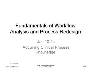 Fundamentals of Workflow Analysis and Process Redesign Unit