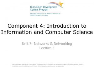 Component 4 Introduction to Information and Computer Science