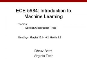 ECE 5984 Introduction to Machine Learning Topics DecisionClassification