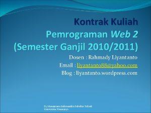 Kontrak Kuliah Pemrograman Web 2 Semester Ganjil 20102011