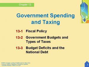 Chapter 13 Government Spending and Taxing 13 1