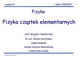 r akad 20062007 Fizyka elementarnych wykadczstek VI Fizyka