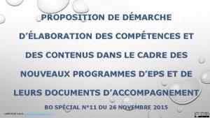PROPOSITION DE DMARCHE DLABORATION DES COMPTENCES ET DES