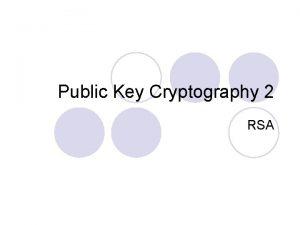 Public Key Cryptography 2 RSA Lemma 1 l