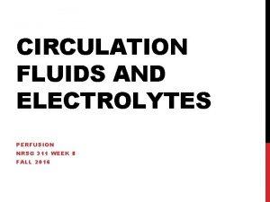 CIRCULATION FLUIDS AND ELECTROLYTES PERFUSION NRSG 311 WEEK