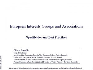 European Interests Groups and Associations Specificities and Best