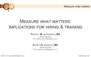 Measure what matters MEASURE WHAT MATTERS IMPLICATIONS FOR