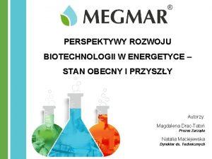 PERSPEKTYWY ROZWOJU BIOTECHNOLOGII W ENERGETYCE STAN OBECNY I