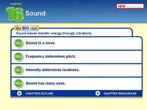 CHAPTER NEW CHAPTER Sound the BIG idea Sound