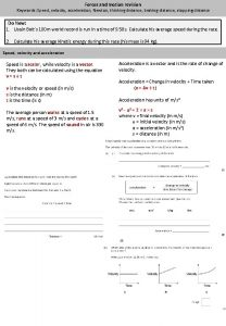 Forces and motion revision Keywords Speed velocity acceleration