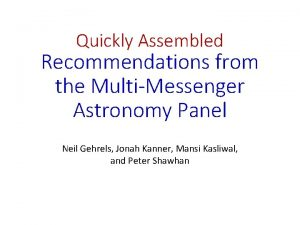Quickly Assembled Recommendations from the MultiMessenger Astronomy Panel