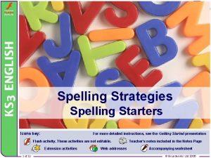 Spelling Strategies Spelling Starters Icons key For more